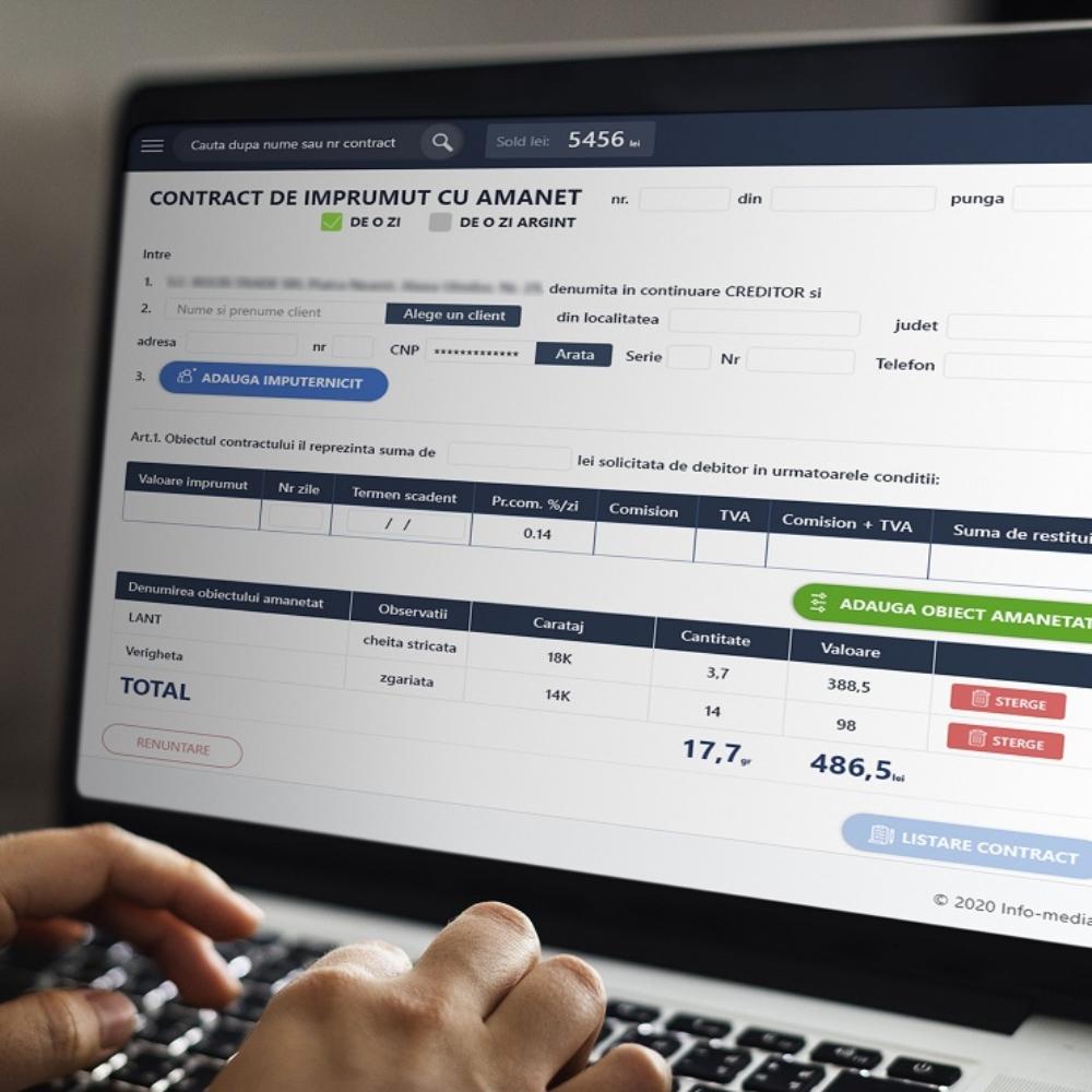 Amanet - aplicatie web integrata Aplicatie personalizata.